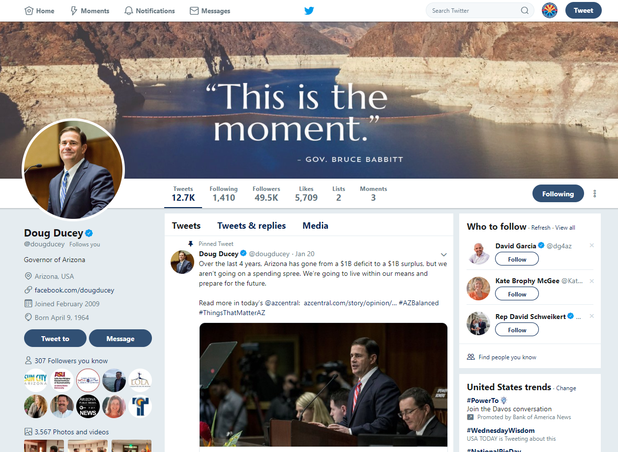 governor ducey facebook page lake mead 1.23.2019